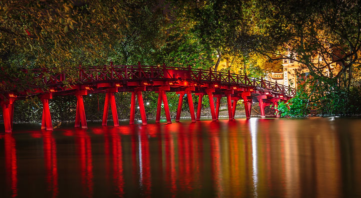 The red Huc Bridge and Ngoc Son Temple a