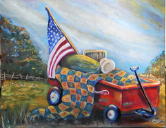Wagons Ho!16 in H x 20 in W  Oil on Canv