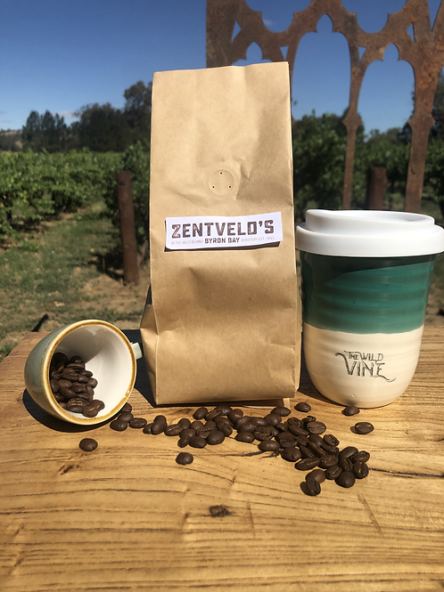 Zentvelds coffee beans and re-usable mug