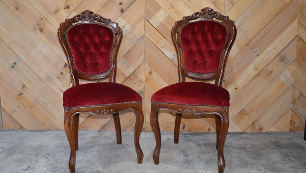Pair of red velvet chairs