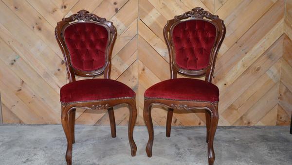 Pair of red velvet chairs