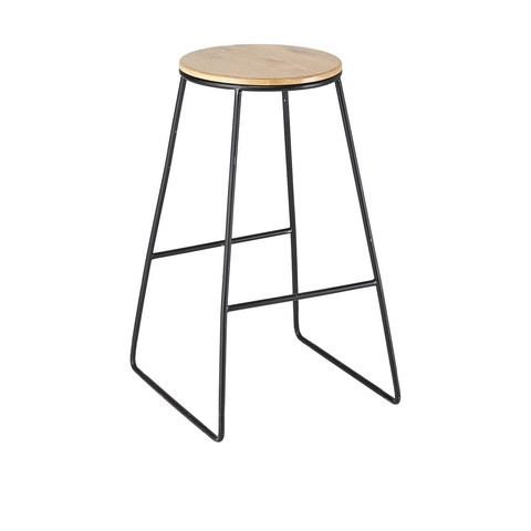 Black and timber stools