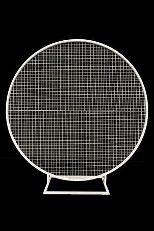 White mesh round backdrop