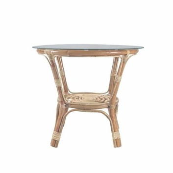 Matching white washed cane table