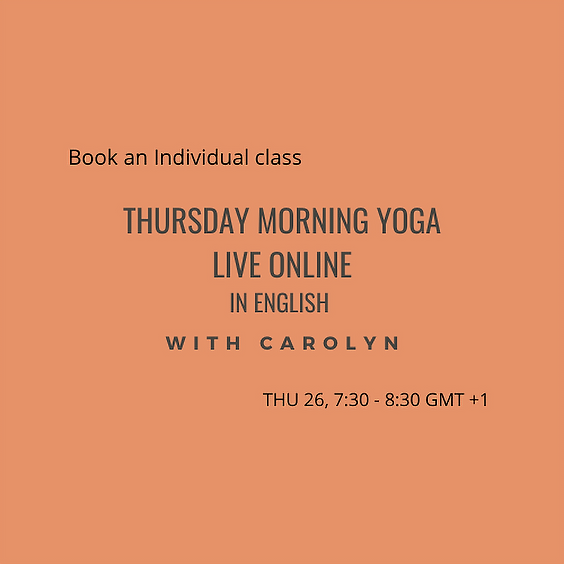 Thursday Morning Yoga LIVE ONLINE with Carolyn in English