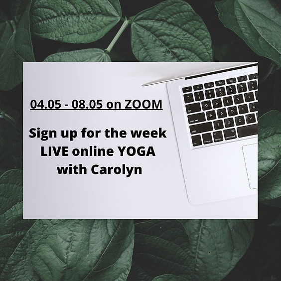 04.05 - 08.05 LIVE ONLINE yoga with Carolyn