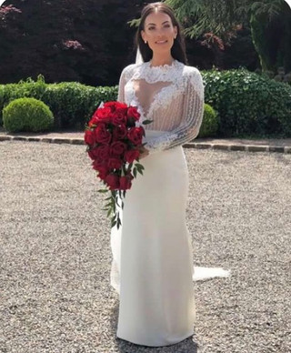 """Hello I just thought I would send you some images of me on the day of my wedding in my dress. I can't thank you enough for all the hard work legends did & for everything being so smooth. I am still over joyed with how I felt & looked on the day & it's all thanks to you & your team. Have a wonderful day ❤️"""