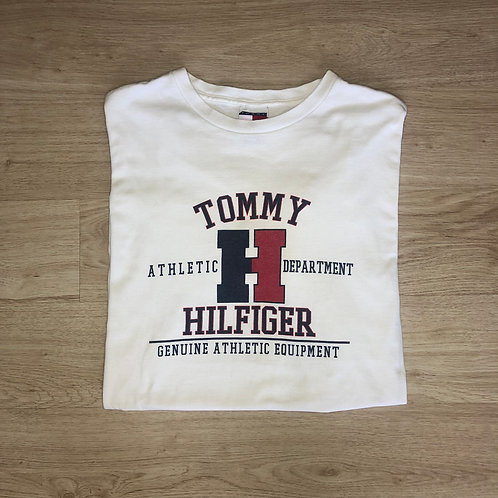 90s Tommy Hilfiger Graphic Tee - White - L