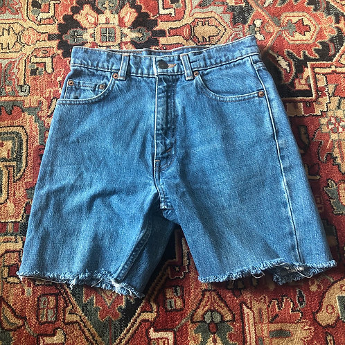 Levi's Mid Length Cut Off Denim Shorts - Size 24
