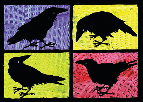 Raven Four Square | notecard