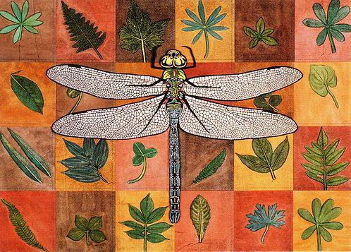 Pieced Leaves: Green Darner | notecard