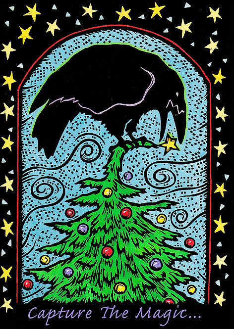 Mr Raven Trims the Tree | holiday notecard