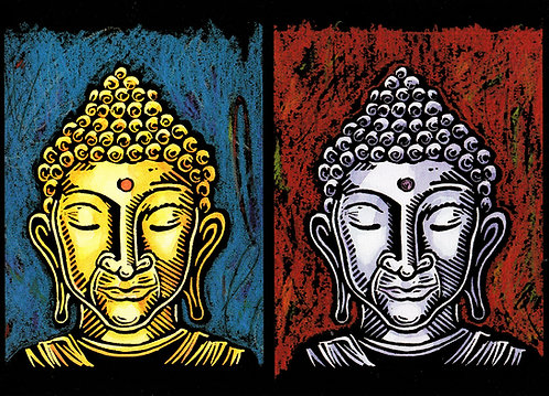 Three Buddha Heads | notecard