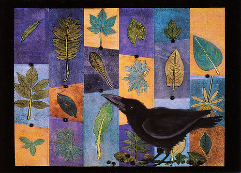 Pieced Leaves: Corvid | notecard