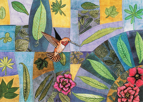 Pieced Leaves: Hummingbird | notecard