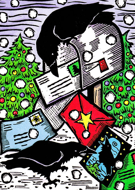 Raven in My Mailbox | holiday notecard