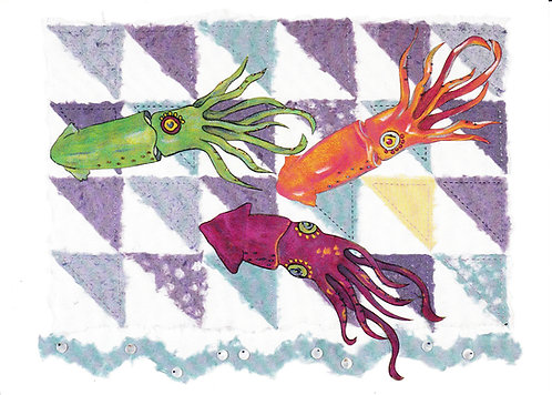 Storm at Sea: Squid Quilt | notecard