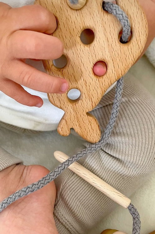 Blossom & Bear Wooden Lacing Toy