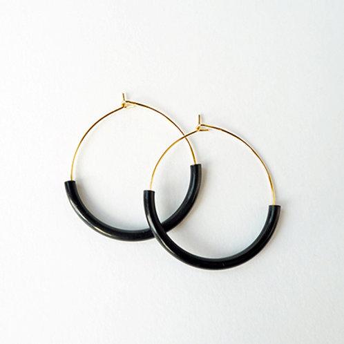 Brass & Bold Black Hoop Earrings