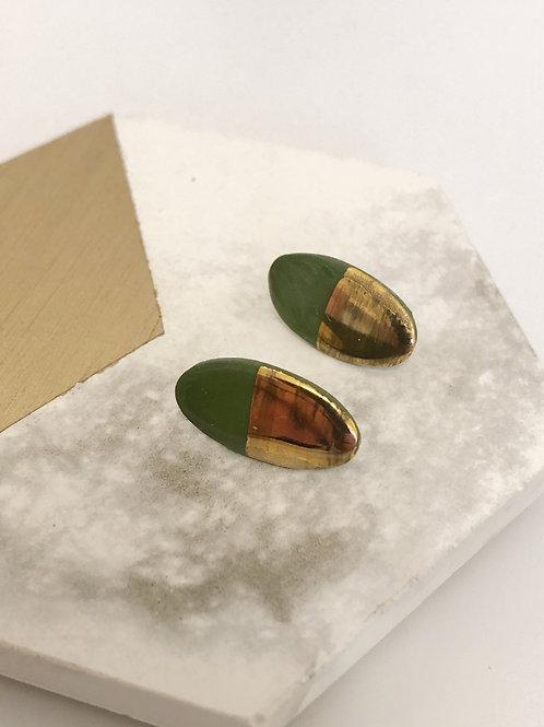Green Oval Stud Earrings