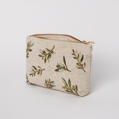 Elizabeth Scarlett Olive Linen Make Up Bag