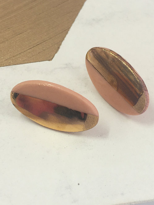 Coral Pink Oval Stud