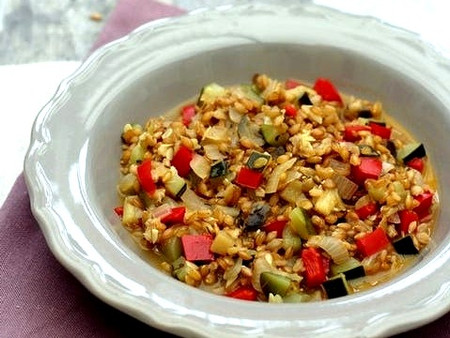 Risotto de petit épeautre aux légumes d'été