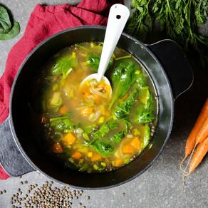 Soupe de lentilles et légumes de saison