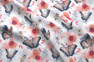 Butterflies and Bugs repeat pattern fabric design