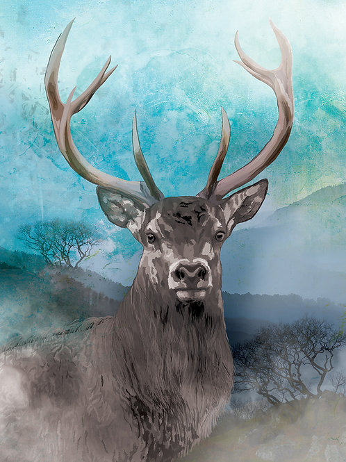 Stag on a Misty Morning in Cardinham - print