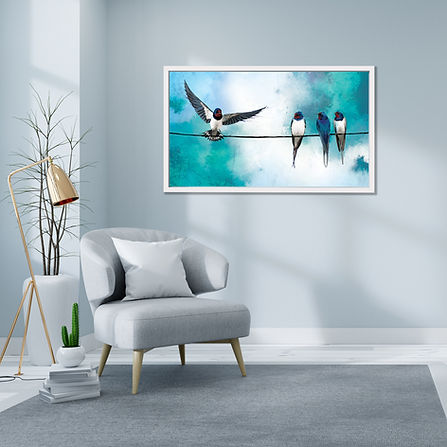 Swallows on a wire II on the wall - Square.jpg