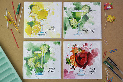 Cocktail Crazy Cards - SALE Pack of 4
