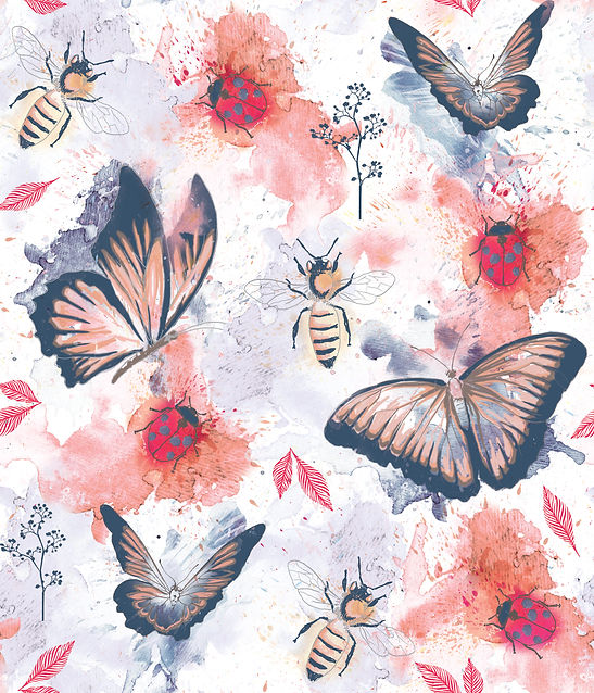 Butterflies and Bugs repeat pattern design