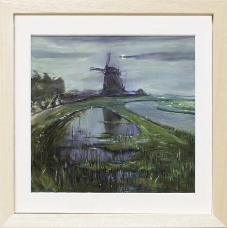 """""""Oostzijdse molen aan het Gein bij maanlicht"""" nach Piet Mondriaan (1872-1944)"""