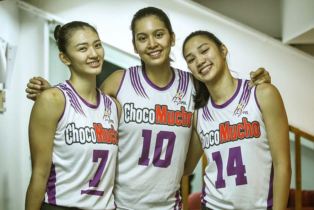 Bea (#14) with her teammates Madayag & Tolentino (Tiebreaker Times)