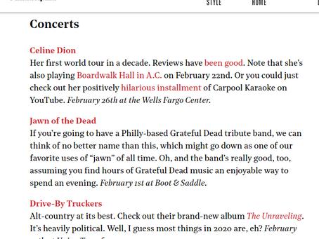 JOTD Makes Philadelphia Magazine Best Concert Events List For Feb 2020!