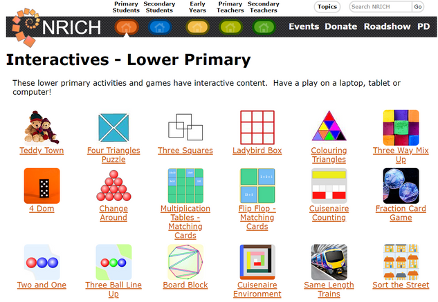 NRICH Interactives Lower Primary