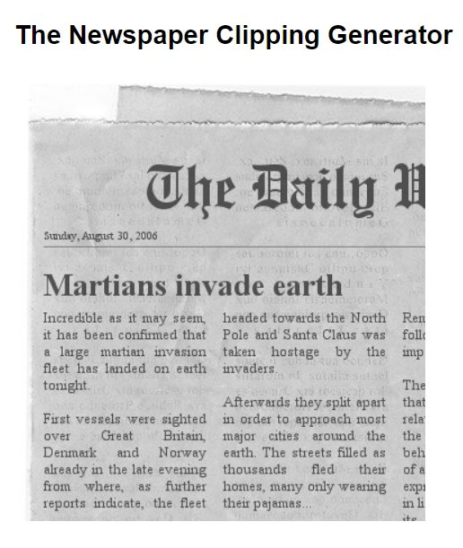 The Newspaper Clipping Generator