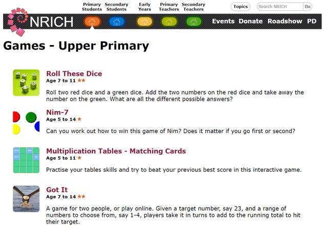 NRICH Games Upper Primary
