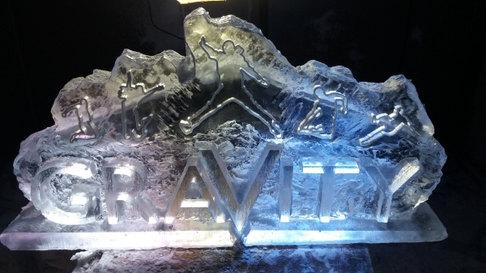Gravity Trampolines Logo Ice Sculpture