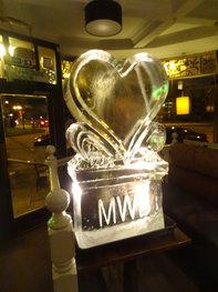 Single Heart Ice Sculpture/Luge