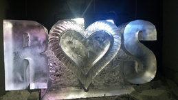 Initials With Heart Wedding Ice Sculpture Luge