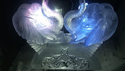 Kissing Elephants Wedding Ice Sculpture/Luge