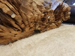 Tree root coffee table underside.