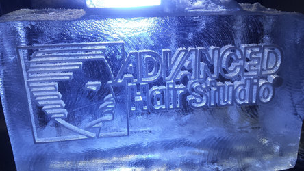 Advanced Hair Studio Logo Ice Sculpture