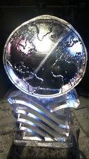 World Logo Ice Sculpture