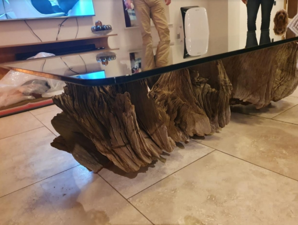 Oak Tree root coffee table with 10mm thick toughened glass