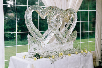 Hearts With Bow Wedding Ice Sculpture/Luge