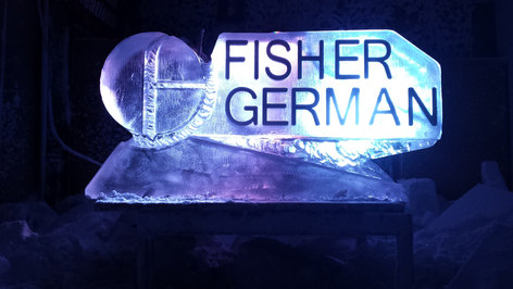 German Fisher Logo Ice Sculpture