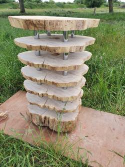 Oak tiered side table.